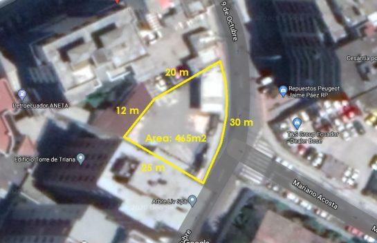 Tereno de venta sector La Pradera, 465 m2, entre Orellana y Eloy Alfaro