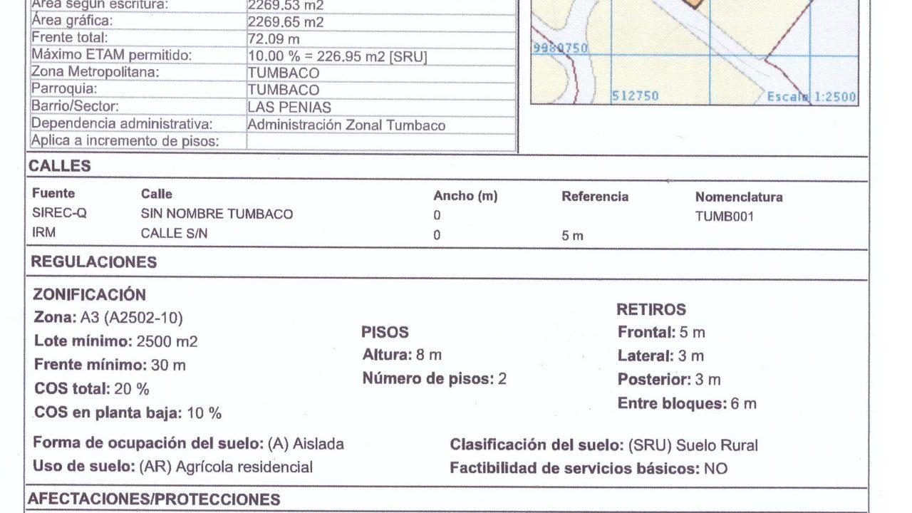 2.269 m2 Tumbaco, las peñas