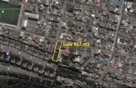 Terrenos de Venta, La Vicentina 857 m2. Calle Vicente Solano, Sector Coliseo Rumiñahui