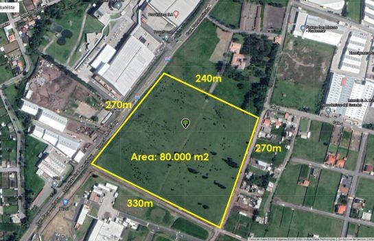 Terreno de venta en Sangolquí 80.600 m2 El Cortijo, Industrial sobre la Via Amaguaña
