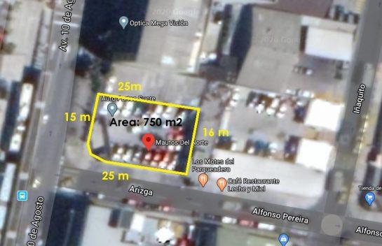 Venta de Terreno, Iñaquito 750 m2 Av 10 de Agosto, Zona Financiera Judicial