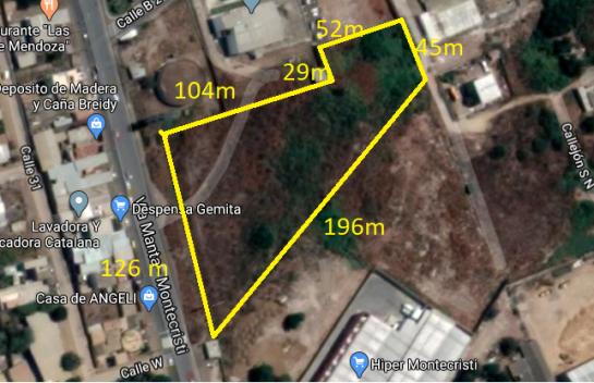 Terreno en Venta Montecristi 12.243 m2, Sector La Tejedora vía principal junto al nuevo MI COMISARIATO