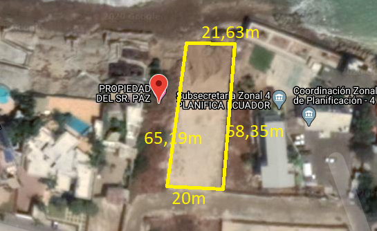 Terreno en  Venta Manta Barbasquillo 1.575 m2 Primera línea frente al mar