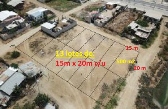 Terreno de venta 13 lotes de 300m2 c/u Leónidas Plaza vía a Bahía de Caráquez