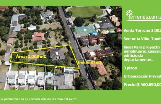 Terreno de venta, 2.003 m2 Tumbaco, sector Colegio El Prado, La Viña.