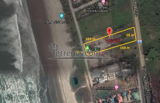 Terreno de Venta 4.750 m2, ubicado en Canoa, ruta del Spondylus, San Vicente