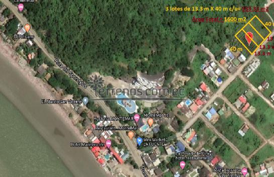 Terrenos de Venta, 3 lotes 533 m2 c/u ruta spondylus san Vicente,