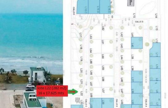 Terreno en venta en Pedernales 282 m2. Urbanización Privada Pacific View, Frente al Mar