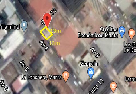 TERRENO EN VENTA en Manta 77m2 calle 15 y av 8 de la parroquia y cantón Manta