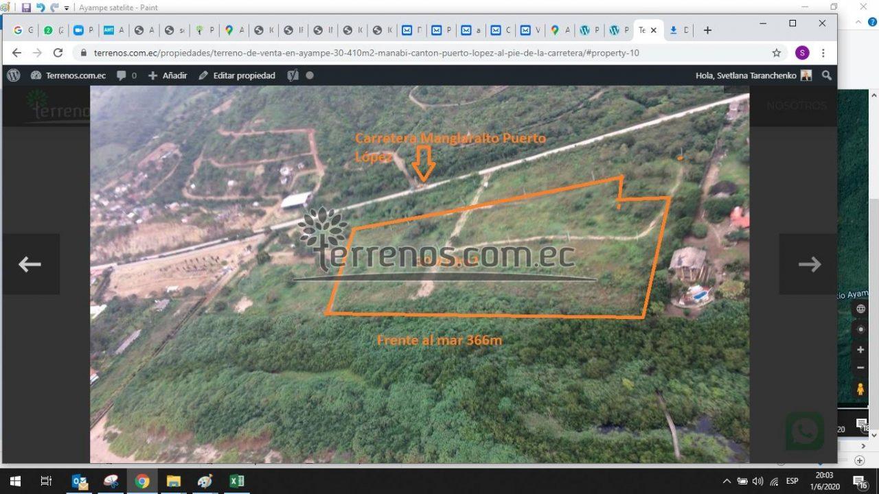 Ayampe via satelite, delimitacion de la propiedad