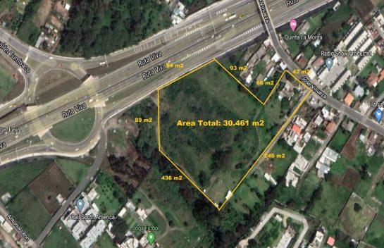 Terreno de venta en Tumbaco 30.461 m2 ingreso a La Morita, Ruta Viva