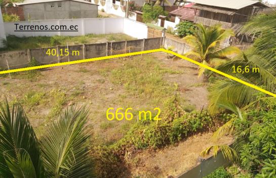 Terreno en venta 666 m2 San Clemente, Manabí, cerca a la playa.
