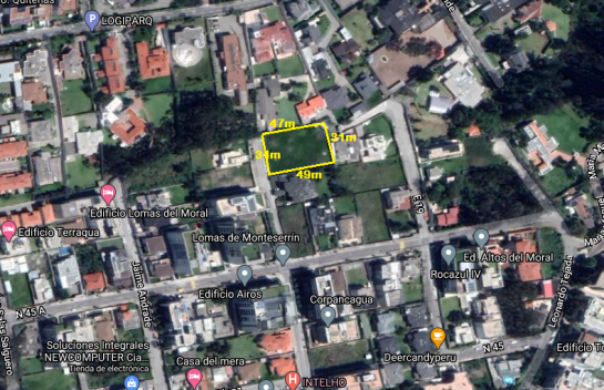 Terreno de Venta en Monteserrín 1.641 m2, Lomas de Monteserrín