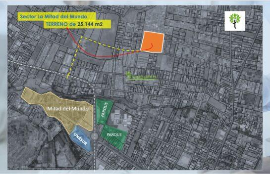 Venta Terreno en Mitad del Mundo 25.144 m2 precio x m2 $65 más obras