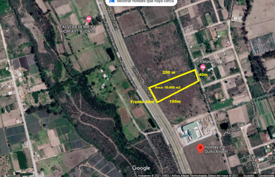Venta de Terreno, 10.000 m2 Tababela, Vía Principal