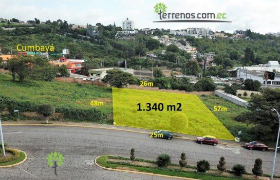 Terreno de venta, Cumbayá 1.340 m2, Urbanización Cumbres del Valle.