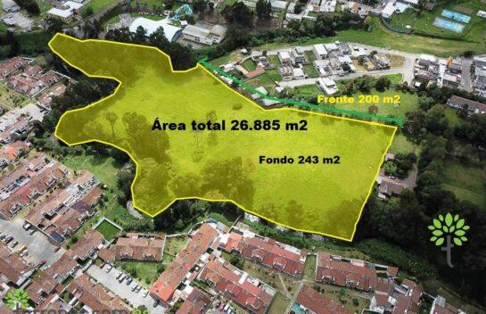 Venta de terreno Sangolquí de 26.484 m2, lote mínimo 300 m2, Proyecto.