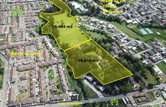 Venta de terreno Sangolquí de 43.299 m2, lote mínimo 300 m2, proyecto inmobiliario..