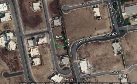 Terreno de venta en Ciudad del Mar 450 M2,  la urbanización con más alta plusvalía de Manta, vía San Mateo