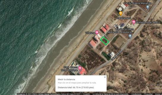Terreno en venta en playa de Santa Marianita (Manta) 312 M2 en segunda línea de mar