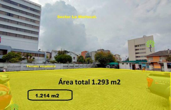 Terreno de venta 1.293 m2 La Mariscal sector comercial turístico y residencial.