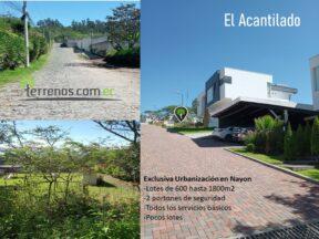 Terreno de venta en Nayón 600 m2 urbanización El Acantilado.