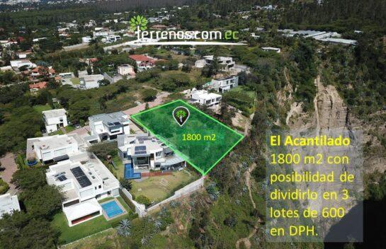 Terreno de venta en Nayón 1800m2 Lotización El Acantilado.