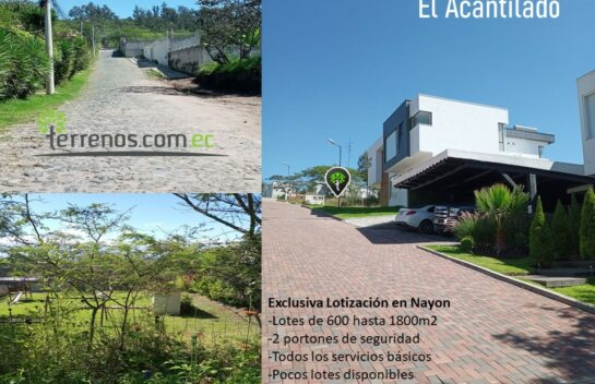Terreno de venta en Nayón 600m2 Lotización El Acantilado.