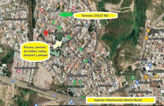 Terreno de venta en Urbanización Manta Beach 219,57 M en la Zona Sur de Manta