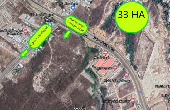 Terreno de 33 HA con acceso directo desde la Ruta del Spondylus, Manta