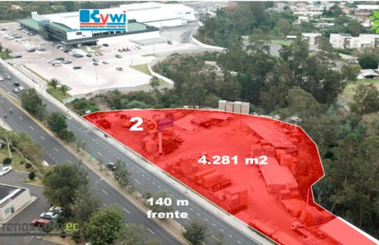Terreno de venta en Tumbaco de 4.281 m2 en la vía Interoceánica alado Kywi